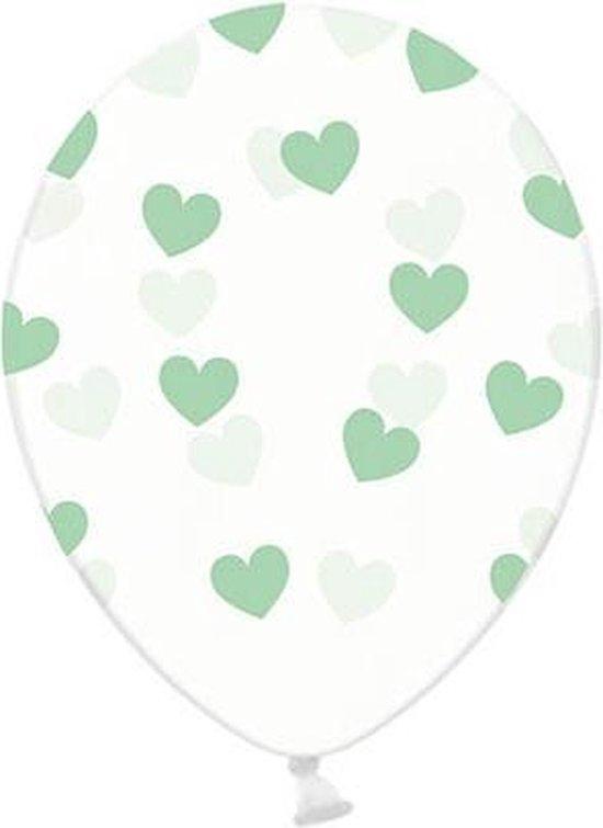 50 Ballonnen in zak hartjes crystal - Mint groen 30cm