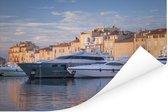 Grote jachten in de haven van Saint-Tropez in Frankrijk Poster 180x120 cm - Foto print op Poster (wanddecoratie woonkamer / slaapkamer) / Europese steden Poster XXL / Groot formaat!