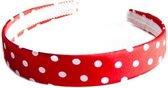 Spaanse haarband rood met witte stippen bij jurk of schoenen