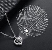 Zilveren Triple Diamanten Hart 100 Talen Ik Hou Van Je Ketting - Zilver Ketting - I Love You Ketting - Cadeau TIP - LIMITED EDITION