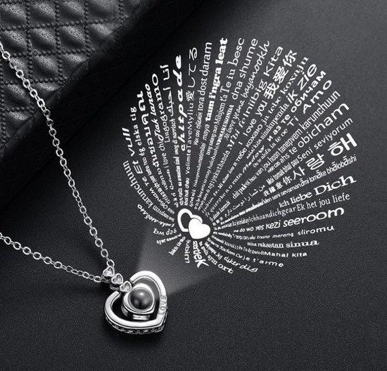 Zilveren Triple Diamanten Hart 100 Talen Ik Hou Van Je Ketting - Rose Goud Ketting - Geliefde Ketting - I Love You Ketting -  Cadeau TIP - LIMITED EDITION - OP = OP