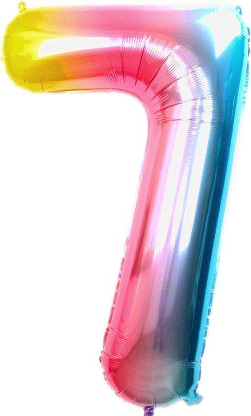 Folie Ballon Cijfer 7 Jaar Regenboog 86Cm Verjaardag Folieballon Met Rietje
