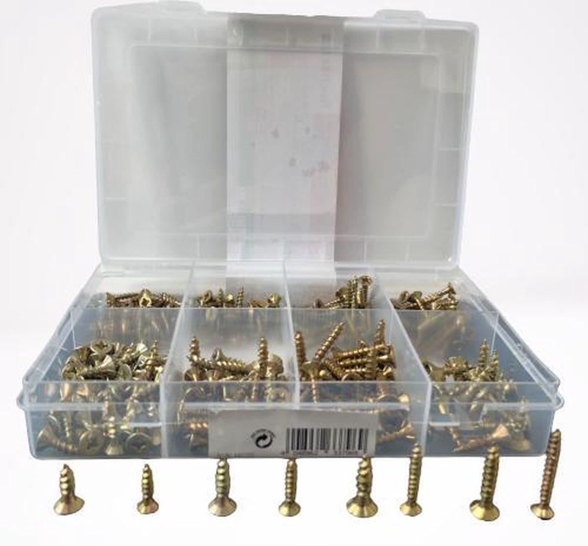 Schroeven - Hoog Kwaliteit Set van 270 stuks schroeven - Verschillende formaten - kruiskop - platte