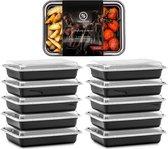 Meal Prep Bakjes - 10 stuks - 1 compartiment - Lunchbox - Diepvriesbakjes - Vershoudbakjes - Plastic Bakjes Met Deksel - Magnetron Bakjes Met Deksel - Meal Prep - Vershouddoos - 1L - BPA vrij - Fitcrafters