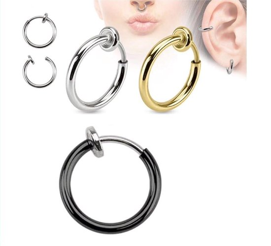 Neuspiercing Ringetje |Fake Piercing|Neusring|Oorbellen|Festival|Zilver