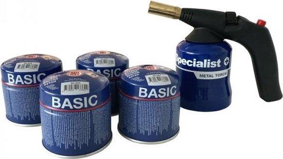 Gasbrander met 4 gaspatronen Specialist+ Met Piezo Ontsteking, Metalen behuizing