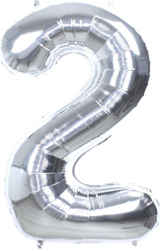 Folie Ballon Cijfer 2 Jaar Zilver 36Cm Verjaardag Folieballon Met Rietje