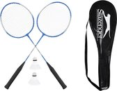 Slazenger 4 persoons Badminton Set - 4 rackets - 4 shuttles - rood - zwart of blauw