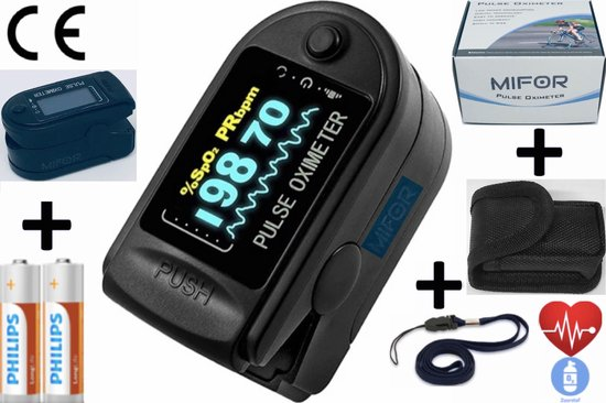 MIFOR® Professioneel Saturatiemeter met - OLED Display - Zuurstofgehalte - Zuurstofmeter Vinger -