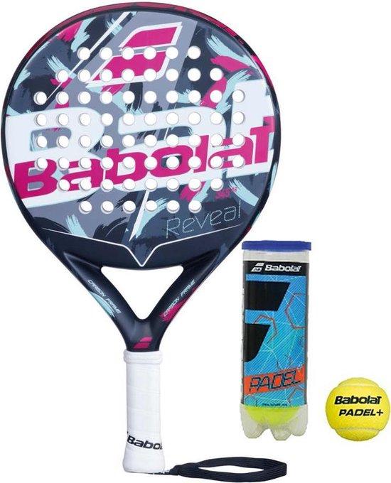 Babolat padelracket REVEAL 2020 met Babolat club padelballen