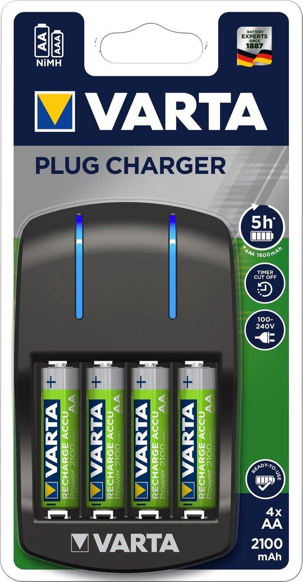 Varta Plug Batterij-Oplader met LED-Verlichting + 4 AA Batterijen Zwart