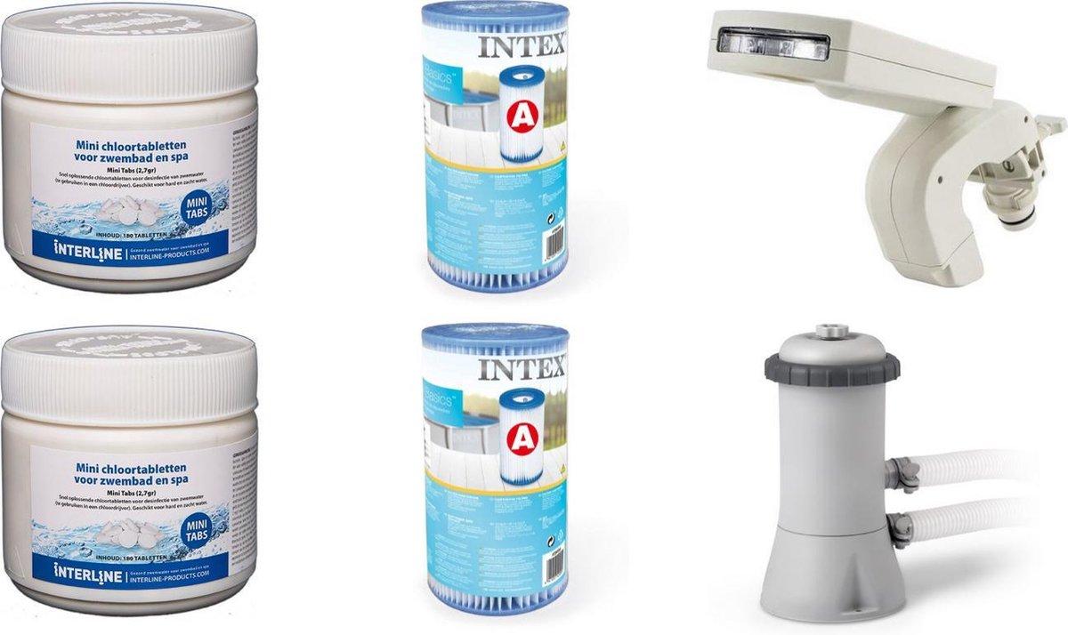 Zwembad onderhoud - Intex - Zwembad Chloor - Filterpomp met A-filter - LED-sproeier