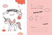 Uitnodiging kinderfeestje Unicorn - eenhoorn - 8 stuks - meisje - roze