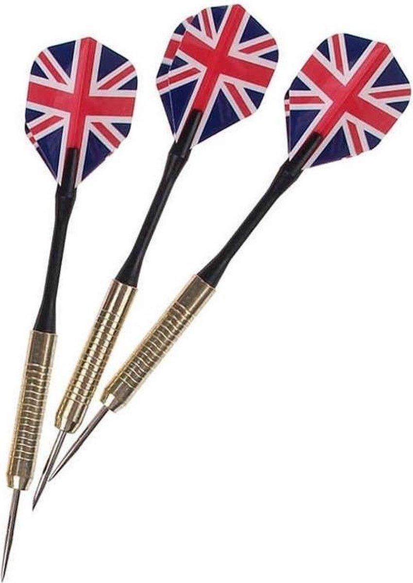 Dartpijlen set van 9x stuks met Engelse/Britse vlag flights. Darts sportartikelen