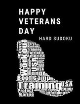 Happy Veterans Day Marine: 100 Hard Sudoku Puzzles In Large Print Veterans Day