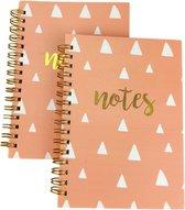 """Notitieboek A6 met tekst """"NOTES"""" - Roze / Goud - Gelinieerd - Set van 2"""