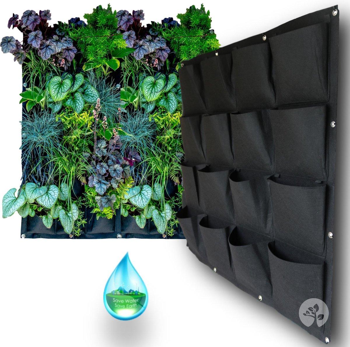 Verticale Tuin met Watersysteem - 16 grote vakken - Hangende Plantenzak - Moestuin - 1x1m