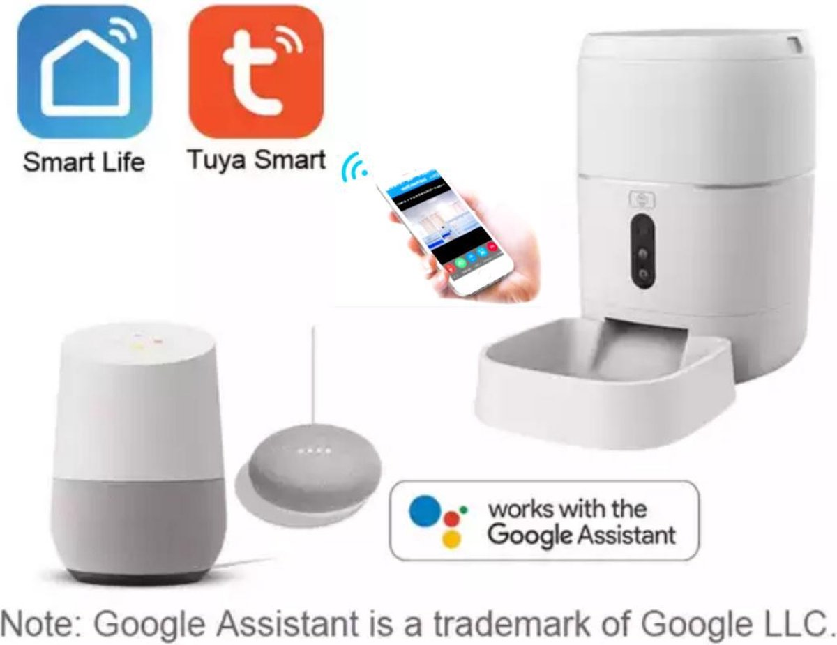 Tuya smart platform 6Lt slimme video-feeder voor huisdieren-Automatische voerbak hond - Automatische