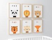 Babykamer Posters - Baby Cadeau Jongen en Meisje - Set van 6 Posters - Kinderkamer - Dieren Posters - Babykamer Wanddecoratie - A4 formaat 20x30 cm - Poster Babykamer - Kinderposters - Baby Dieren