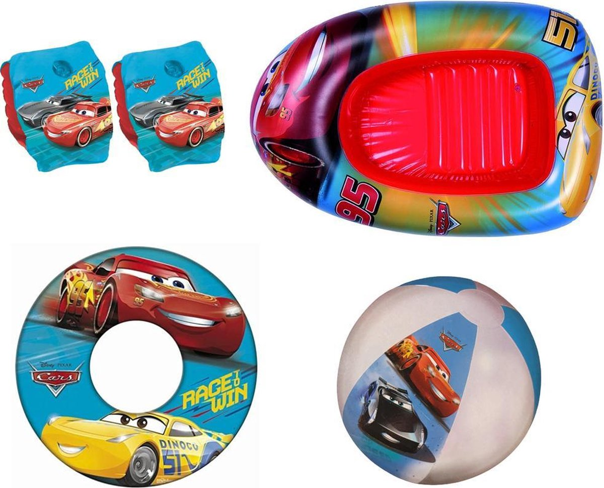 Cars Zomerpakket | Funpakket | Zomerspeelgoed | Zwemband | Zwembandjes | Strandbal | Opblaasboot 102 x 69CM! | 4-in-1 | Waterpret
