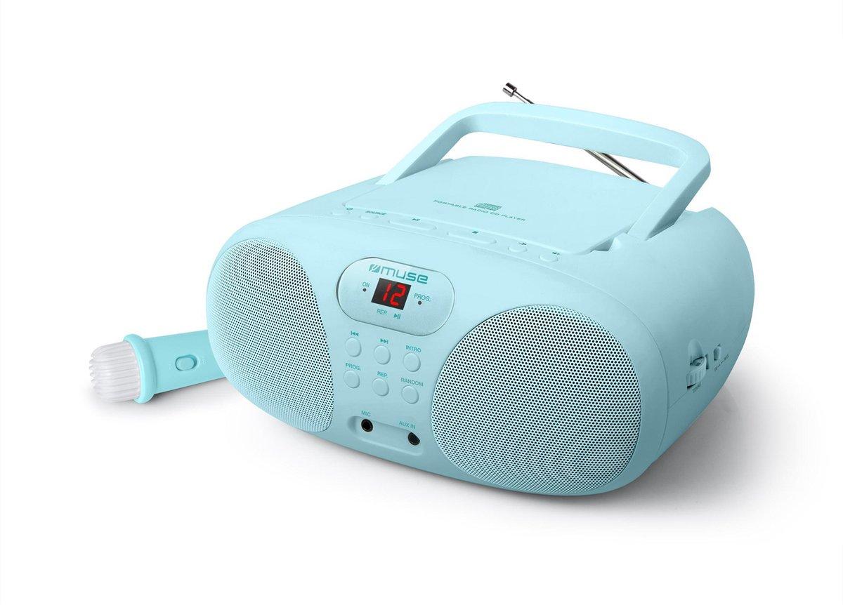 Muse MD-203 KB Draagbare Radio, CD-speler met microfoon voor kinderen, lichtblauw