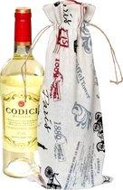 Linnen zakjes 16 x 37cm | 6 stuk | Eiffel | 100% naturel linnenzak | wijnfles zakken wijnverpakking wijntas