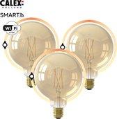 Calex Smart Home - slimme Wifi Globe Filament lamp - Goudkleurig - set van 3 -  bedienen met Amazon Alexa, Google Home, Calex Smart App