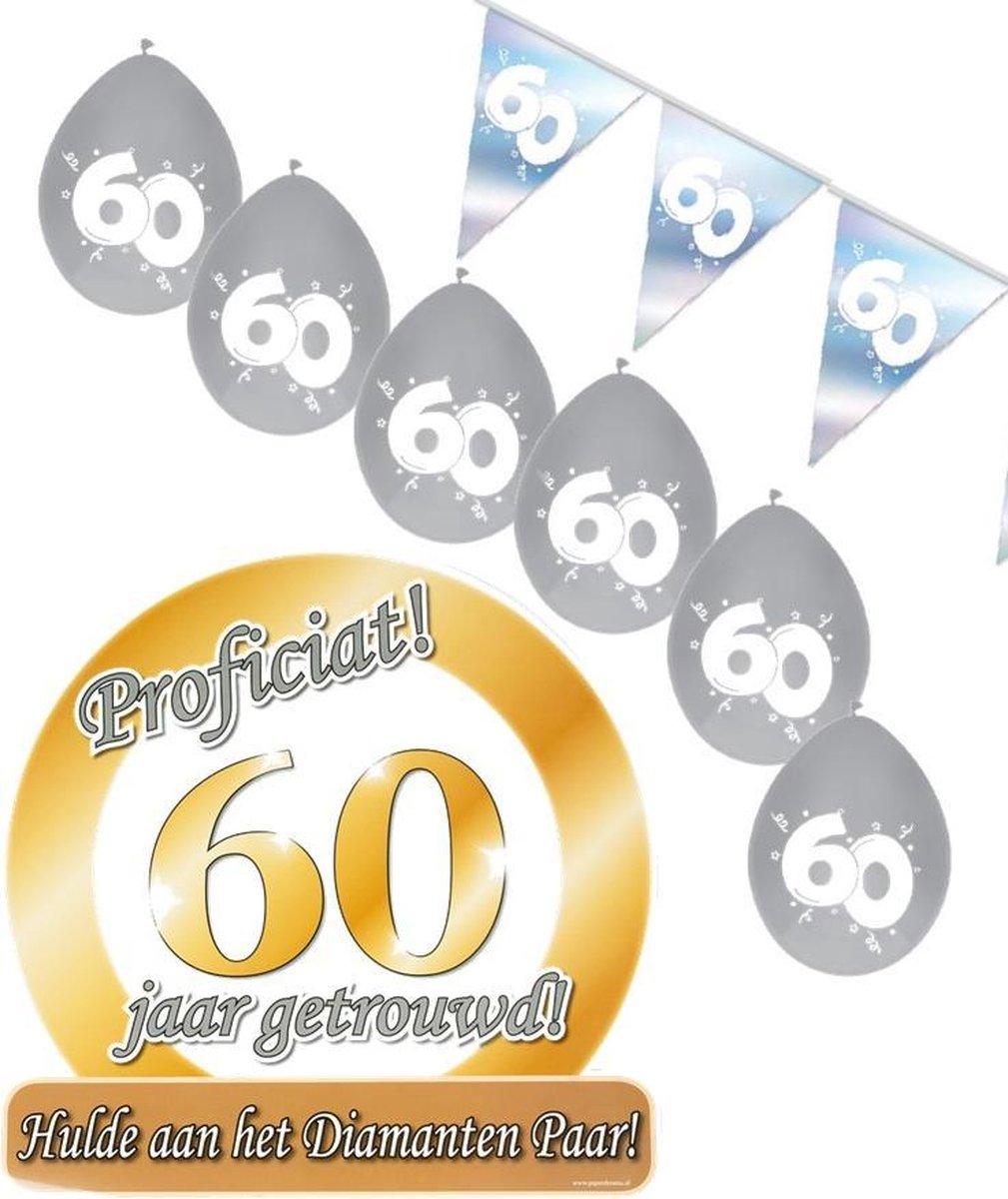 60 jaar getrouwd S – Jubileum pakket feestversiering – feestartikelen Diamanten bruiloft – voor kleine woonkamer