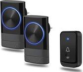 Draadloze Deurbel met 2 Ontvangers - Plug&Play - 4 Regelbaar Volume – 60 Melodie – Oplichtende LED's – batterij van vijf jaar inbegrepen – regen waterdicht