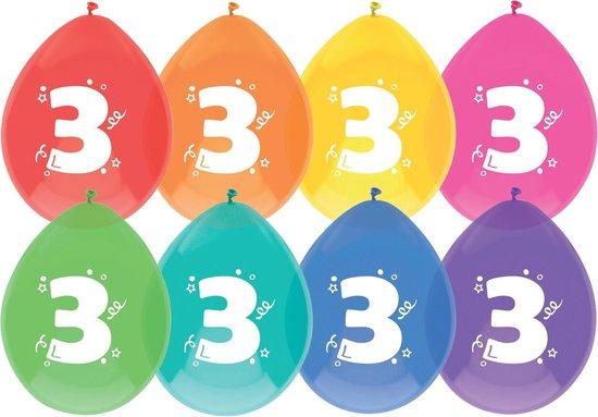 """Haza Original Ballonnen Multicolor Met Opdruk """"3"""" 30 Cm 8 Stuks"""