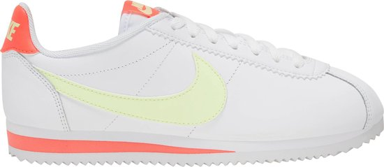 Nike Classic Cortez Sneakers - White/Barely Volt-Flash Crimson - Maat 40
