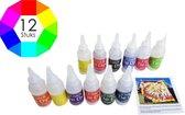 Tie Dye Kit verf - 12 kleuren - Tie dye verf kit in flesjes - Complete Tie dye set - Batik Verf Paket - Textielverf Tie Dye - Tie Dye Paint - Tie Die Kit - Tye Dye Kit