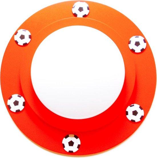 Funnylight kids voetbal lamp LED plafonniere in rood met 6 voetballen in zwart wit voor de jongens en meisjes slaapkamer