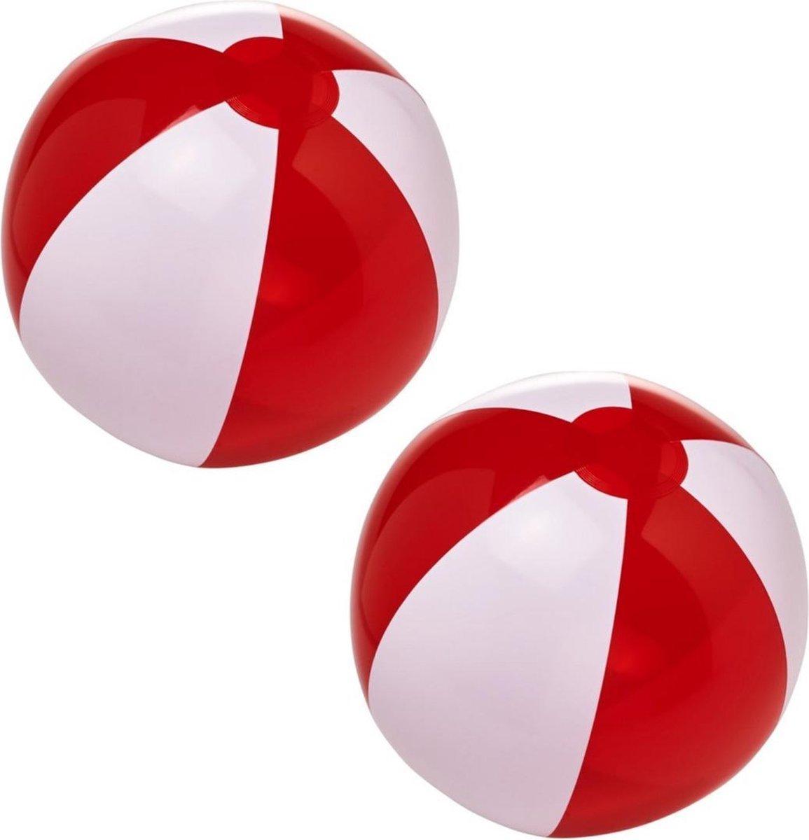 2x stuks opblaasbare strandballen rood/wit 30 cm - Buitenspeelgoed waterspeelgoed opblaasbaar