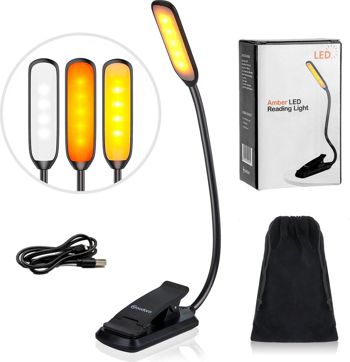 Woodoro LED Leeslampje – Filtert Blauw Licht – Bevordert Slaap - 3 Lichtstanden - Dimbaar - Oplaadba