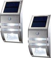 2 Stuks Solar Wandlamp Op Zonne-Energie  - Buitenlamp - Bewegingssensor - Dag / nacht sensor - Tuinverlichting - LED