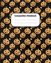 Composition Notebook: Halloween Theme Wide Ruled 7.5 x 9.25 in 100 Pages Composition Book Cute Pumpkin Pattern