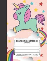 Composition Notebook Unicorn: Pink Pastel Color Cover 7.44''x9.69'' 110 Pages Extra Wide Ruled Paper, Elementary School Supplies Student & Teacher
