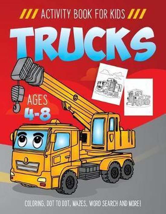 Trucks Activity Book for Kids Ages 4-8