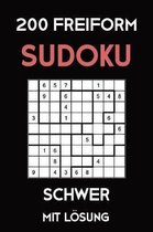 200 Freiform Sudoku Schwer Mit L�sung: 2 R�stel pro Seite, Sudoku Puzzle R�tselheft, 9x9