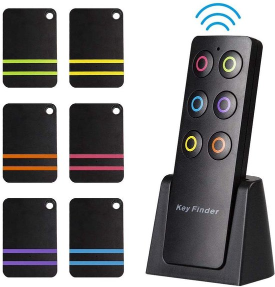 Nava® Sleutelvinder met Afstandsbediening | Keyfinder | Wireless Key Finder | 6 ontvangers | Sleutelzoeker | Item Tracker | 100 meter Bereik | Inclusief Batterijen