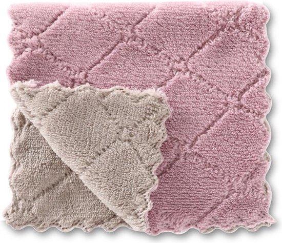 Vaatdoeken - 2 stuks - Vaatdoek - Vaatdoekjes - huishoudelijke schoonmaakmiddelen - Keuken gadgets - Keuken accessoires - Schoonmaken - Microvezel - Microvezel doekjes - Paars - Grijs  - Doeken - Herbruikbaar - Duurzaam - Kleurig - Theedoek - Wassen