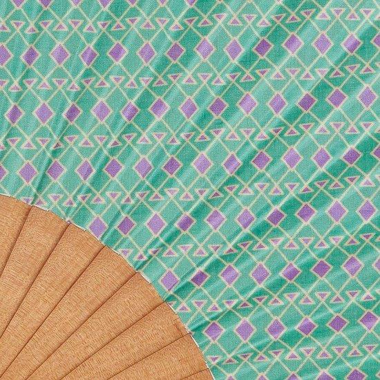Luxe Waaier - Spaanse Waaier - Handwaaier - Grafisch Groen Motief - Maya -