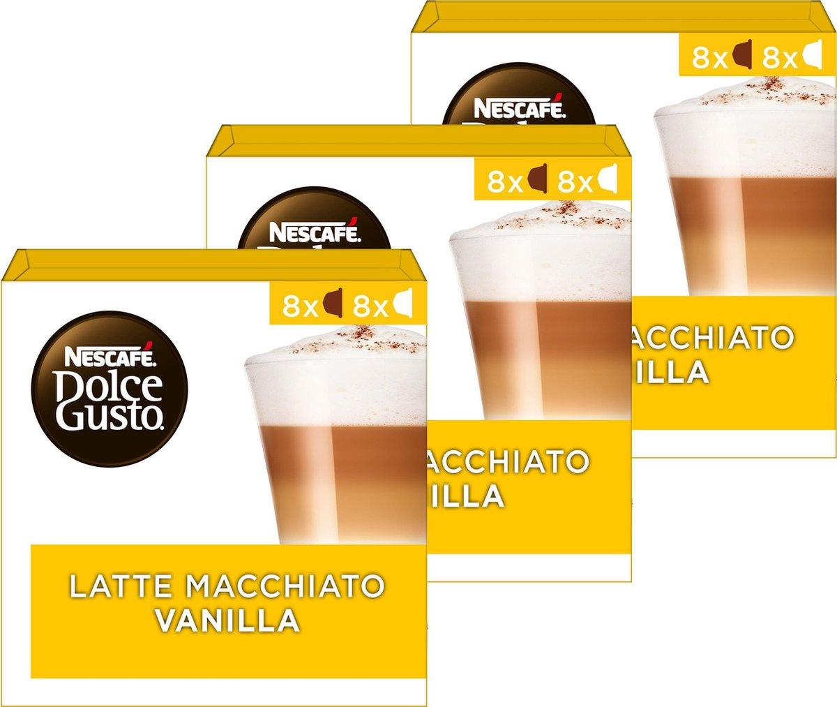 NESCAF   Dolce Gusto  Latte Macchiato Vanilla Koffiecups - 3 doosjes   16 capsules geschikt voor 24