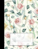 Vintage Floral Notebook: Red & Yellow Roses Graph Ruled Composition