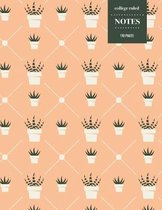 College Ruled Notes 110 Pages: Cactus Floral Notebook for Professionals and Students, Teachers and Writers - Peach and Cactus Pattern