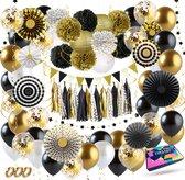 Fissaly® 111 Stuks Goud, Zwart & Wit Decoratie Feestpakket met Ballonnen – Helium – Confetti – Latex - Happy New Year 2021