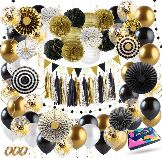 Fissaly® 111 Stuks Goud, Zwart & Wit Decoratie Feestpakket met Ballonnen – Helium – Confetti – Latex
