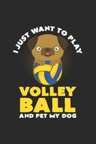 I just want to play Volleyball Dog: 6x9 Pug - dotgrid - dot grid paper - notebook - notes