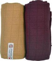 Lodger Hydrofiele doek Swaddler Solid - Okergeel/ Donkerrood - 120x120 - 2 stuks